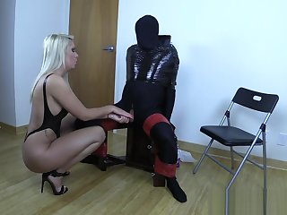 Blonde bitch milks slave