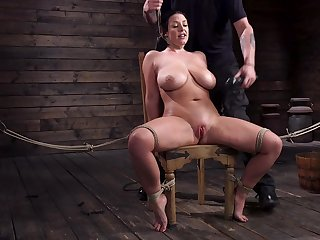 Submissive milf nigh G-cup boobs Angela Ashen gets punished in the basement