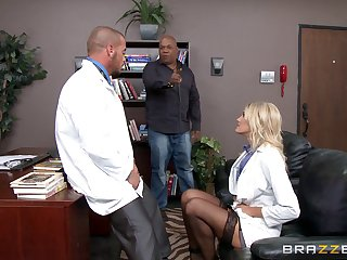 Horny blonde doctor Audrey Show loves to have sex in will not hear of office