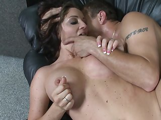 Busty MILF puts the hungry dick in both her concentrated holes