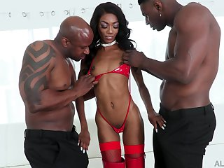 Versatile black cowgirl with chap-fallen black booty Chanel Skye takes double BBC penetration
