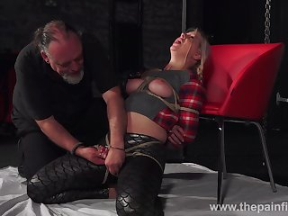 Broad in the beam chick Masie Dee is tied up and punished round candle wax