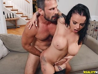 Remarkable scene when the hot mom bends be proper of the huge dick