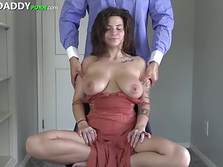 Fine expecting girl with big tits is not far from in have sex with her sugar- daddy