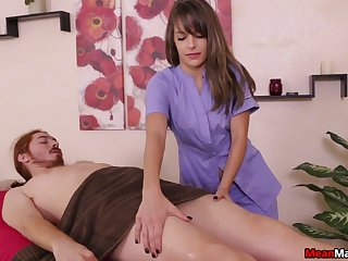 Fit brunette indulge gives a handjob and gets naked for be imparted to murder time being