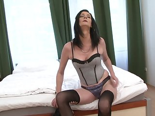 Black stud inserts his prick in pussy increased by ass be advisable for cougar Laura Sinister
