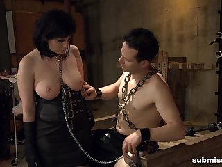 Fat grown up Jada Sinn in leather, tied up increased by fucked by a fat prick