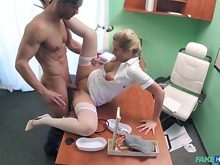 Attractive duo does the deed in a sanative examination breadth