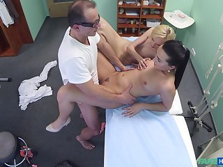 Lovely blonde's threeway screwing yon her alloy and nurse