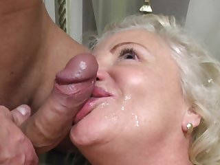 Dirty granny loves having sex with her younger neighbor on the purfling limits