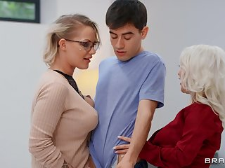 Mummy blows like a porn star before sharing dick with younger slut