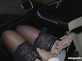 Hot Russian babe Anna Polina shows stockings upskirt concerning french policeman