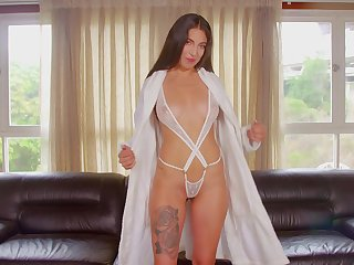 Sweet Latina Amy Vales drops her lingerie and fingers her cunt